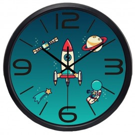 SPACE TRAVEL ROCKET ASTRONAUT & PLANET WALL CLOCK CHILDREN BEDROOM HOME DECOR IDEA