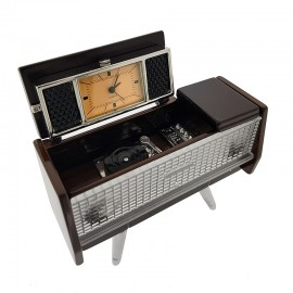 VINTAGE CABINET STEREO MINIATURE RETRO RECORD PLAYER COLLECTIBLE MINI CLOCK GIFT IDEA