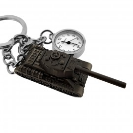 ARMY TANK KEY CHAIN RING PENDANT w WORKING TINY CLOCK CHARM
