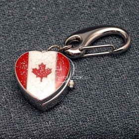 Miniature Clock, Mini Canada Flag Heart Shaped Keychain