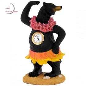 HULA BEAR MINIATURE ANIMAL HAWAII COLLECTIBLE MINI CLOCK