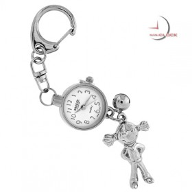 KEY CHAIN, Novelty Mini Clock LITTLE FIGURINE GIRL w/ Pigtails