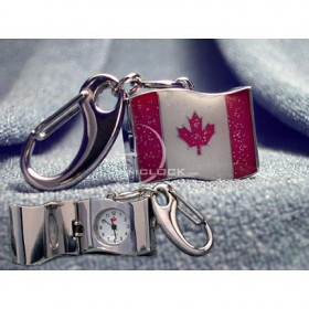 Miniature Clock, Mini Canada Flag Keychain