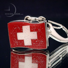 Mini Clock, Swiss Flag Keychain Watch