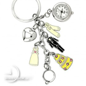 KEYCHAIN, Novelty Mini Clock WEDDING CHARMS