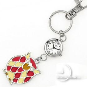 KEY CHAIN, Novelty Mini Clock CUTE OWL w/ Gem Eyes