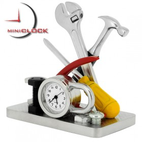 TOOL SET HANDYMAN MINIATURE  TOOLS  DESKTOP MINI CLOCK COLLECTIBLE GIFT