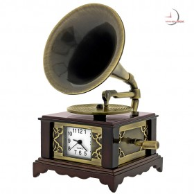 GRAMOPHONE MINIATURE PHONOGRAPH COLLECTIBLE MUSIC THEME MINI CLOCK