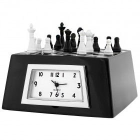 CHESS MINIATURE GAME BOARD MINI CLOCK COLLECTIBLE GIFT