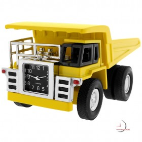 YUKE DUMP TRUCK MINIATURE HEAVY EQUIPMENT EARTH MOVER COLLECTIBLE MINI CLOCK
