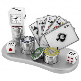 POKER ROYAL FLUSH CARDS MINIATURE - SPADES / CASINO COLLECTIBLE GAMBLING MINI CLOCK