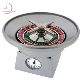 ROULETTE WHEEL MINIATURE CASINO COLLECTIBLE GAMBLING MINI CLOCK - SPINS!