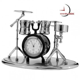 DRUM SET MINIATURE DESK CLOCK  COLLECTIBLE TINYCLOCK