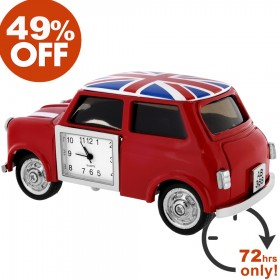 MINI COOPER CAR STYLE MINIATURE CLOCK COLLECTIBLE w/ UNION JACK BRITISH FLAG