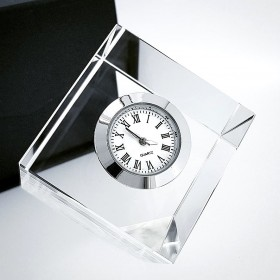 FLOATING SQUARE CRYSTAL MINI DESK CLOCK COLLECTIBLE GIFT IDEA