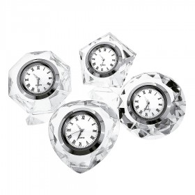 VALENTINE GIFTS SET OF EXQUISITE CRYSTAL CLOCKS GIFTS; HEART, PENTAGON, OCTAGON & DIAMOND SHAPES
