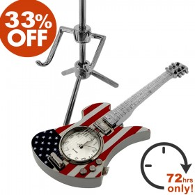 ELECTRIC GUITAR MINIATURE MOCKINGBIRD STYLE MUSIC INSTRUMENT w USA FLAG PATTERN MINI CLOCK