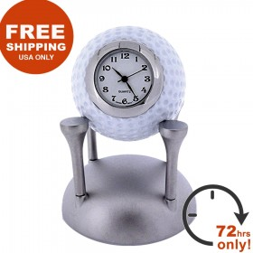 GOLF BALL MINIATURE GOLFING COLLECTIBLE SPORTS GOLF TEE MINI CLOCK