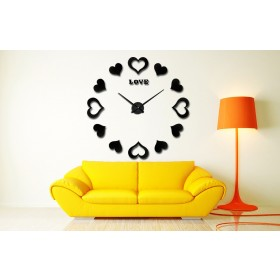 GIANT DIY 3D WALL CLOCK W/ HEARTS HOME DECOR