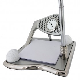 GOLF DESK SET w/ PEN & Clock Deluxe Clock Desktop Gift
