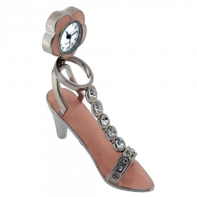 HIGH HEEL SHOE MINI CLOCK PINK FASHION DESK ACCESSORY PUMP w GEMS