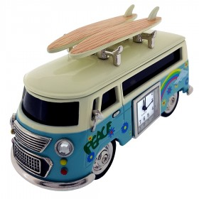 VAN MINIATURE HIPPIE STYLE VINTAGE BUS CAMPER COLLECTIBLE  MINI CLOCK