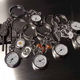 LOT OF 6 UNIQUE KEY CHAIN RINGS w WORKING TINY CLOCK CHARM