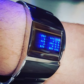 REFLECTION LED WATCH STAINLESS STEEL BLUE DISPLAY ASYMMETRIC DESIGNER WATCHES
