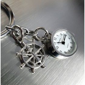 SHIPS WHEEL &  MINIATURE ANCHOR CHARM MARINE BOATING KEY CHAIN RING & WORKING MINI CLOCK