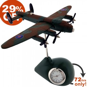 LANCASTER MINIATURE BRITISH WW II BOMBER PLANE COLLECTIBLE AIRPLANE MINI CLOCK