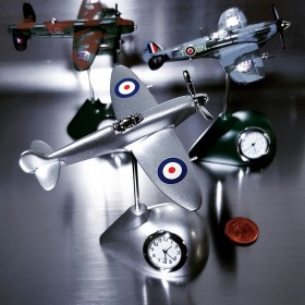 SPITFIRE MINIATURE BRITISH FIGHTER PLANE COLLECTIBLE AIRPLANE MINI CLOCK