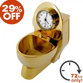 TOILET MINIATURE GOLD THRONE COLLECTIBLE DESKTOP BATHROOM MINI CLOCK