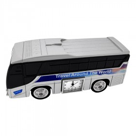 TRAVEL BUS MINIATURE GREYHOUND STYLE TOURBUS COLLECTIBLE MINI CLOCK