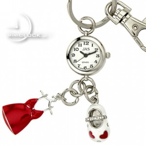 KEY CHAIN, Novelty Mini Clock Red PETTICOAT & SHOE