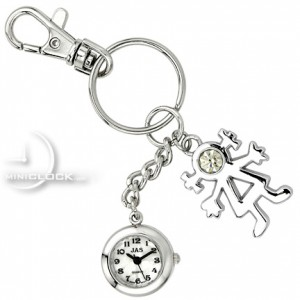 KEY CHAIN, Novelty Mini Clock LITTLE STICK FIGURE GIRL