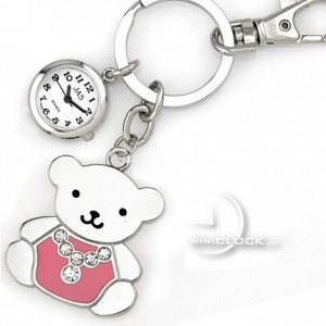 KEY CHAIN, Novelty Mini Clock TEDDY BEAR w/ GEMS