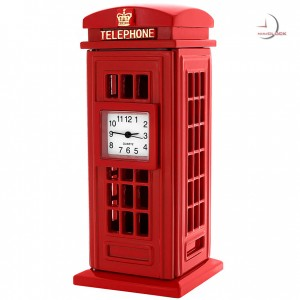 Miniature Clock, Deluxe Collectible Red PHONE BOOTH