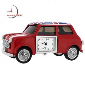Miniature Clock, MINI COOPER CAR w/ Union Jack UK Flag