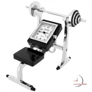 Mini Clock, WEIGHT BENCH & BARBELL - Fitness Gym