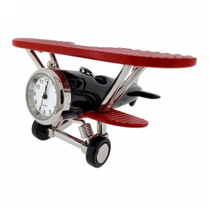 BIPLANE FIXED WING MINIATURE AIR PLANE COLLECTIBLE AVIATION MINI CLOCK GIFT IDEA