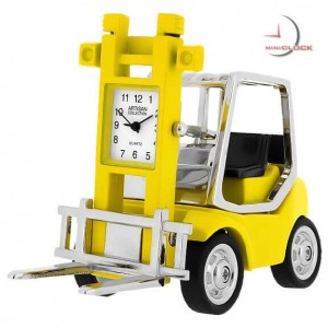 Miniature Clock, Collectible Yellow FORKLIFT Truck