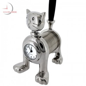 SPRING CAT MINI CLOCK w PEN COLLECTIBLE DESKTOP GIFT