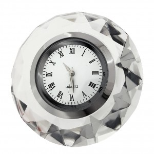ROUND DIAMOND CRYSTAL CLOCK