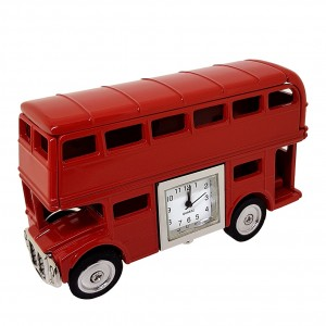 RED DOUBLE DECKER BUS COLLECTIBLE MINIATURE DESKTOP CLOCK