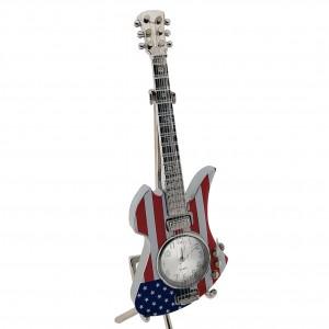MINIATURE CLOCK  MOCKINGBIRD STYLE ELECTRIC GUITAR w USA FLAG PATTERN MINI CLOCK