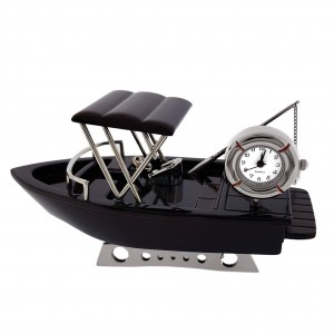 FISHING BOAT MINIATURE TRAWLER COLLECTIBLE MARINE COLLECTIBLE MINI CLOCK GIFT IDEA