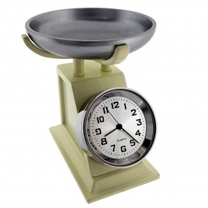 VINTAGE KITCHEN FOOD SCALE MINI COLLECTIBLE DESK CLOCK