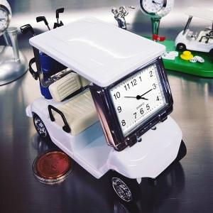 GOLF CART MINIATURE w CLUBS COLLECTIBLE SPORTS MINI DESKTOP CLOCK