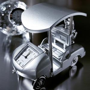 Miniature Clock, Silver GOLF CART w/ Roof & Clubs