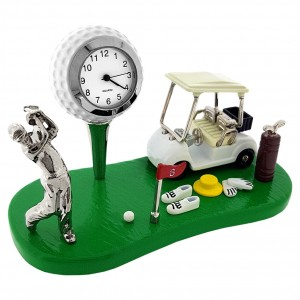 GOLF SCENE ON GREEN w GOLFER BALL FLAG CART CLUBS FLAG & SHOES COLLECTIBLE SPORTS MINI CLOCK